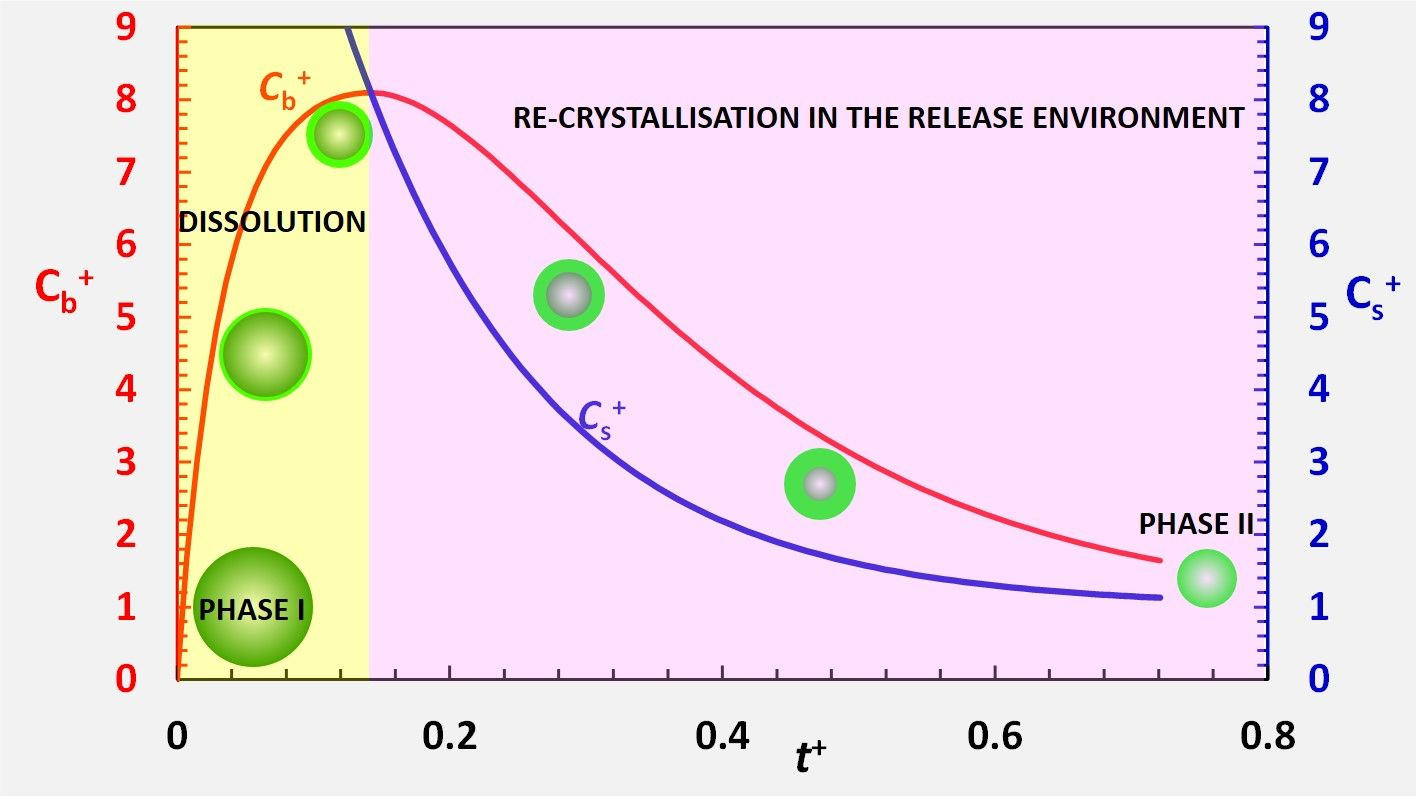 Dissolution of an ensemble of differently shaped poly-dispersed drug particles undergoing solubility reduction: mathematical modelling