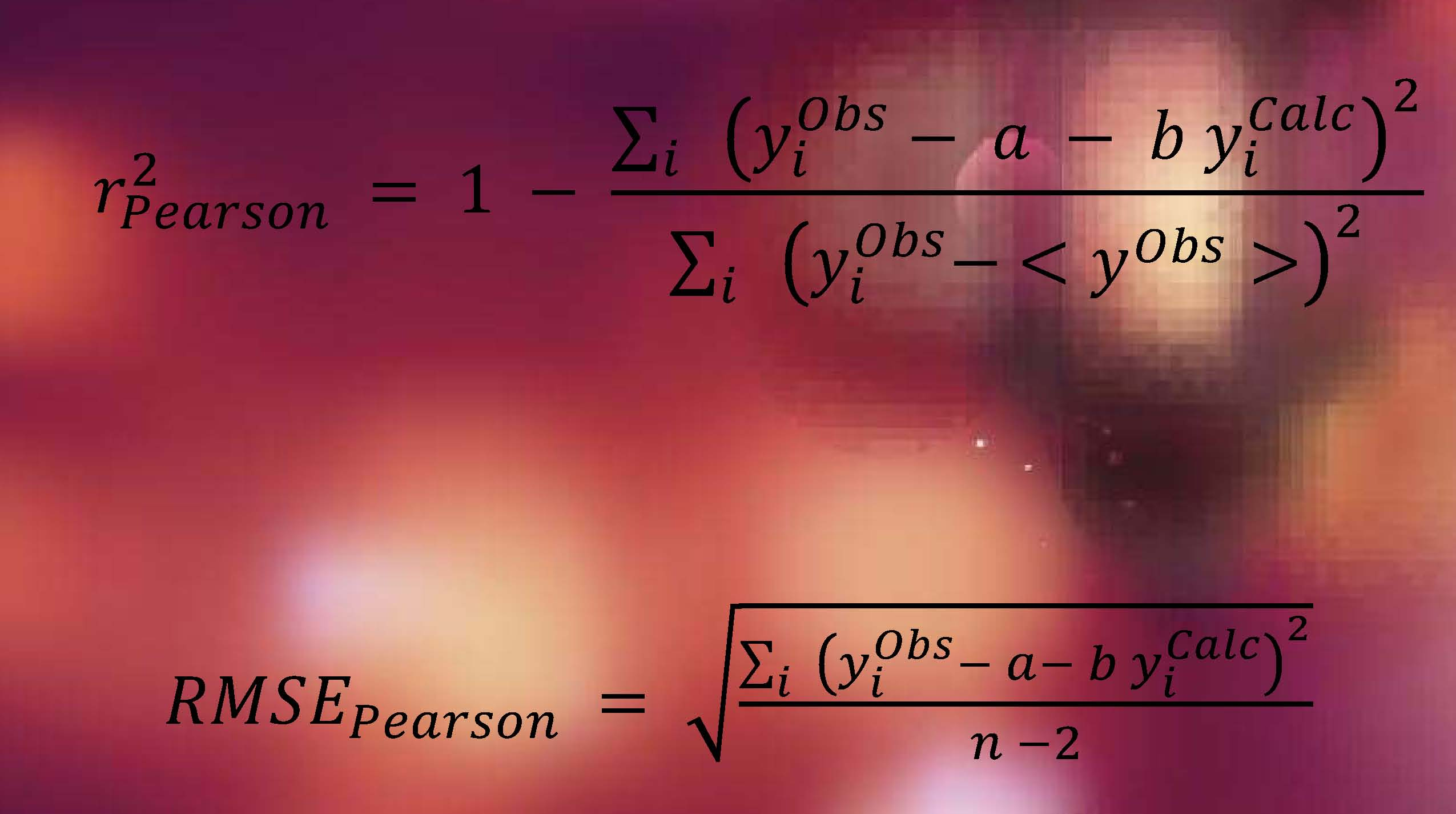 the coefficient of determination (r2), Pearson's linear correlation coefficient (rPearson), and the root-mean-square error (RMSE), among many others.